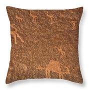 Rock Art At Wadi Rum In Jordan Throw Pillow