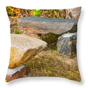 Rock Bench And Table Throw Pillow