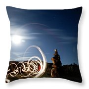 Rock Cairn With Light Painting Next Throw Pillow