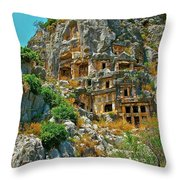 Rock-carved Tombs In Myra-turkey Throw Pillow