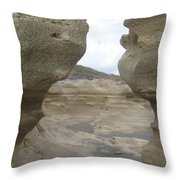 Rock Caves On The Beach Throw Pillow