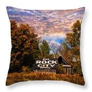 Rock City Barn Throw Pillow by Debra and Dave Vanderlaan