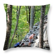 Rock Climbing Youths Throw Pillow