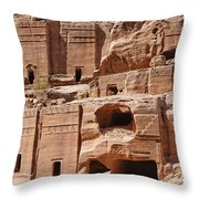 Rock Cut Tombs On The Street Of Facades Petra Jordan Throw Pillow