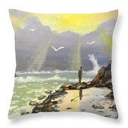 Rock Fishing At Wombarra  Throw Pillow