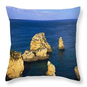 Rock Formations In The Sea, Algarve Throw Pillow
