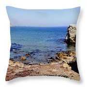 Rock Formations On The Beach, Marcona Throw Pillow