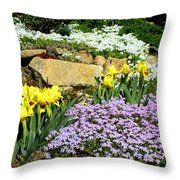 Rock Garden Flowers Throw Pillow