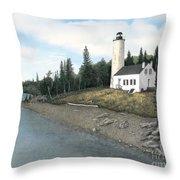 Rock Harbor Lighthouse Throw Pillow