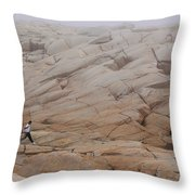 Rock Jogger At Peggy's Cove Throw Pillow