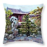 Rock Landscape Of The Dr. Sun Yat-sen Garden Throw Pillow