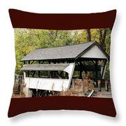 Rock Mill Covered Bridge Ohio Throw Pillow