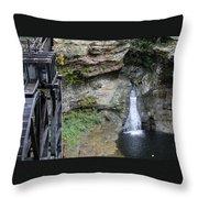 Rock Mill Water Fall In Ohio Throw Pillow