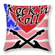 Rock N Roll Stars N Stripes Throw Pillow