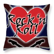 Rock N Roll Union Jack Throw Pillow