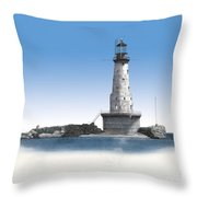 Rock Of Ages Lighthouse Throw Pillow