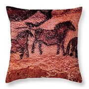 Rock Painting Of Tarpans Ponies, C.17000 Bc Cave Painting Throw Pillow