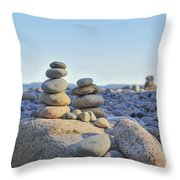 Rock Piles Zen Stones Little Hunters Beach Maine Throw Pillow