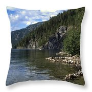 Rock Pools On Christina Lake Throw Pillow