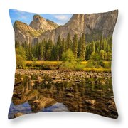 Rock Reflections On The Merced Throw Pillow
