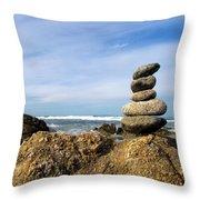 Rock Sculpture At The Beach Throw Pillow