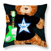 Rock Star Teddy Bear Throw Pillow