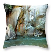Rock Wall And River Throw Pillow