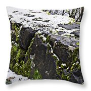 Rock Wall With Moss And A Dusting Of Snow Art Prints Throw Pillow