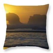Rockaway Beach Oregon Turning The Sky To Gold Throw Pillow
