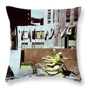 Prometheus Rockefeller Plaza 1950 Throw Pillow
