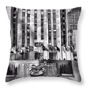 Rockefeller Center Black And White Throw Pillow