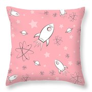 Rocket Science Pink Throw Pillow