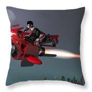 Rocket Scooter Throw Pillow