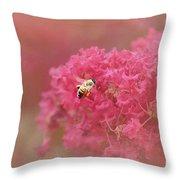Rockin Pink Bee Throw Pillow