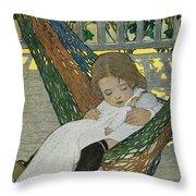 Rocking Baby Doll To Sleep Throw Pillow