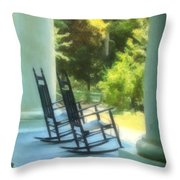 Rocking Chairs And Columns Throw Pillow