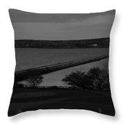 Rockland Breakwater Lighthouse  - Black And White Throw Pillow