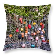 Rockport Fishing Net And Buoys Throw Pillow