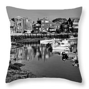 Rockport Harbor - Bw Throw Pillow