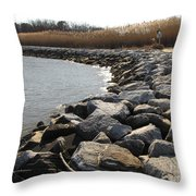 Rocks Along The Shore At Sandy Point Throw Pillow