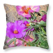 Rocks And Roses Throw Pillow