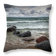 Rocks And Waves At Wilderness Park In Sturgeon Bay Throw Pillow