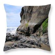 Rocks At Arcadia Beach Throw Pillow