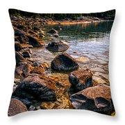 Rocks At Shore Of Georgian Bay Throw Pillow