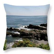 Rocks Below Portland Headlight Lighthouse 1 Throw Pillow