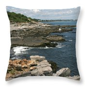 Rocks Below Portland Headlight Lighthouse 5 Throw Pillow