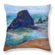 Rocks Heading North - Scenic Landscape Seascape Painting Throw Pillow