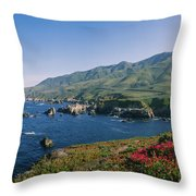 Rocks In The Sea, Carmel, California Throw Pillow