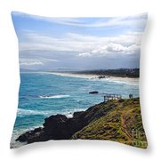 Rocks Ocean Surf And Sun Throw Pillow