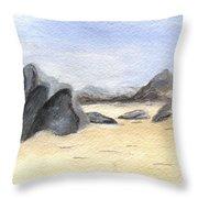 Rocks On Beach Throw Pillow